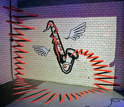 Misic on the Walls- 3D Wall Art mit GAFFA-Klebeband- 2013