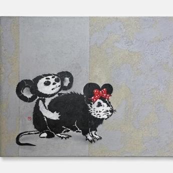 cheburashka vs banksy rat- Stencil spray art on canvas, 2011-2019