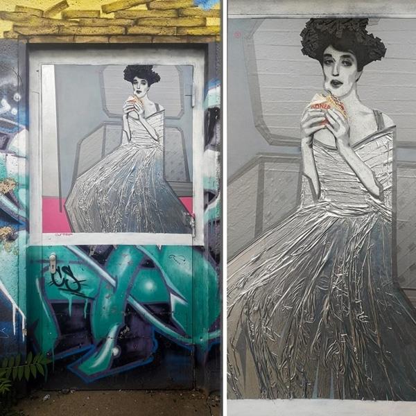 Lady in Cement (feat. Gustav Klimt), Street-Art 2018