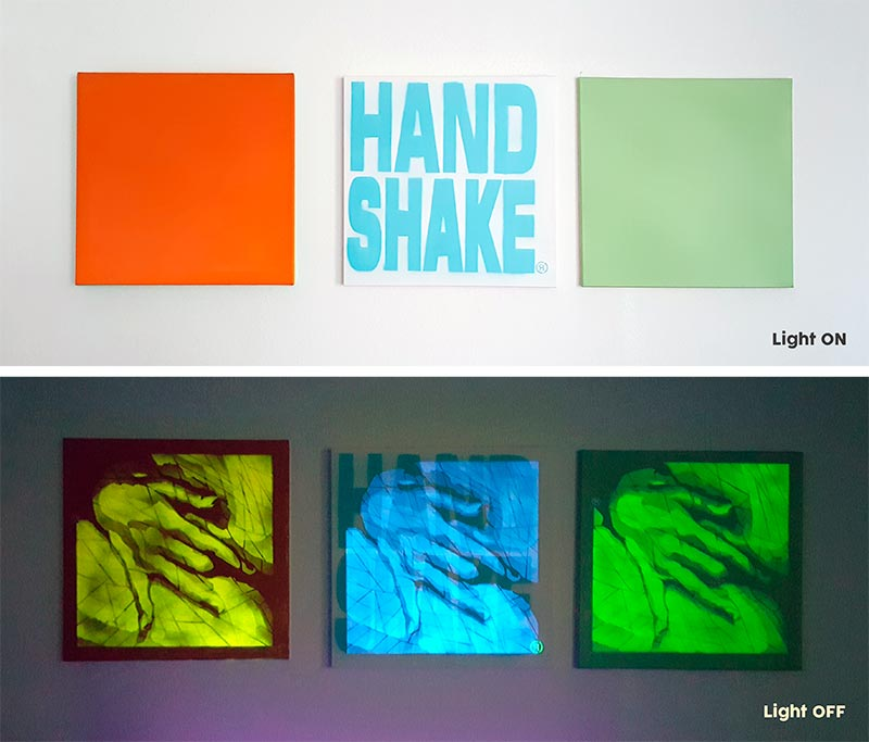 Hand Shake (Series), 2017, Stencil, UV and Phosphor spray paint on canvas 70x70 cm