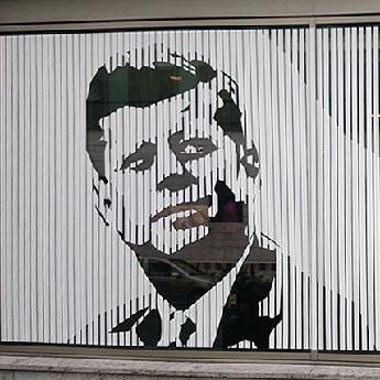 JFK Portrait, Duct tape street art- Closeup
