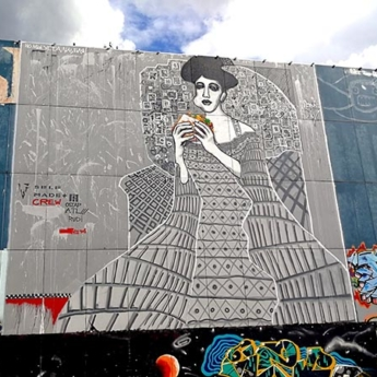 Lady in Cement (feat. Gustav Klimt), 2015, Mixed Media, Mural