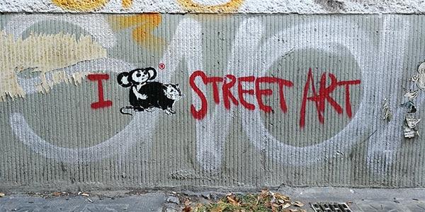 Loving street art, Cheburashka vs. rat series, 2018, Stencil, Spray paint